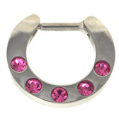 Pink 5-Gem Set Septum Clicker Jewelry 16G