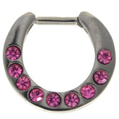 Pink 9-Gem Set Septum Clicker Jewelry 16G