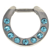 Aqua 9-Gem Set Septum Clicker Jewelry 16G