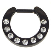 Black 9-Gem Set Septum Clicker Jewelry 16G