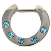 Aqua 5-Gem Set Septum Clicker Jewelry 16G