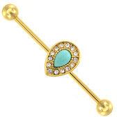 Gold Plated Turquoise Teardrop Industrial Bar 14g