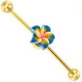 Blue Tropical Flower Gold Industrial Barbell 14g 35mm