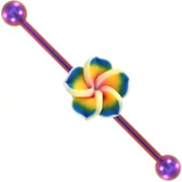 Tropical Flower Purple Industrial Barbell 14g 35mm