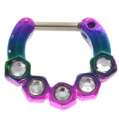 Rainbow Hexagons & Clear CZ Septum Clicker 16G