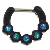 Black Hexagon Blue Opal Septum Clicker 16G