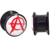 "Red & White Anarchy Symbol Plugs (2g-13/16"")"