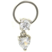 Clear Cz Heart Dangle Captive Bead Ring 16G 3/8""