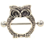 Elaborate Owl Nipple Ring Shield 14g 7/8""