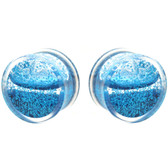 "Blue Liquid Glitter Filled Clear Acrylic Plugs (0g-1"")"