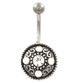 Sparkling Antique Shield Belly Button Ring