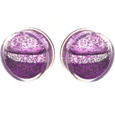 "Purple Liquid Glitter Filled Clear Acrylic Plugs (0g-1"")"