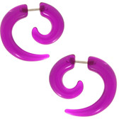 Purple Fake Spiral Tapers Earrings (2g Look)