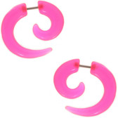 Pink Fake Spiral Tapers Earrings (2g Look)