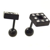 Gemmed Square Top Black Fake Plug Earrings