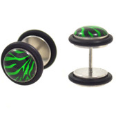 Black & Green Zebra Fake Plug Earrings (00g Look)