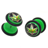 Pot Leaf Logo Black/Green Fake Plug Earrings