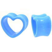 "Light Blue Acrylic Heart Shaped Tunnels (8g-15/16"")"