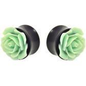 "Mint Green Rose Flower Top Black Acrylic Plugs (0g-1"")"