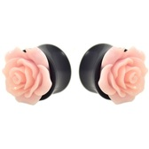 "Light Pink Rose Flower Top Black Acrylic Plugs (0g-1"")"