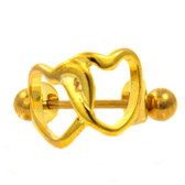Gold Double Hearts Cartilage Piercing Cuff 16G
