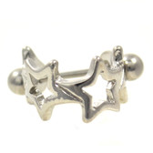 Multi Star Steel Cartilage Piercing Cuff 16G