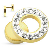 Gold Plated Gem Rim Fake Plug Earrings