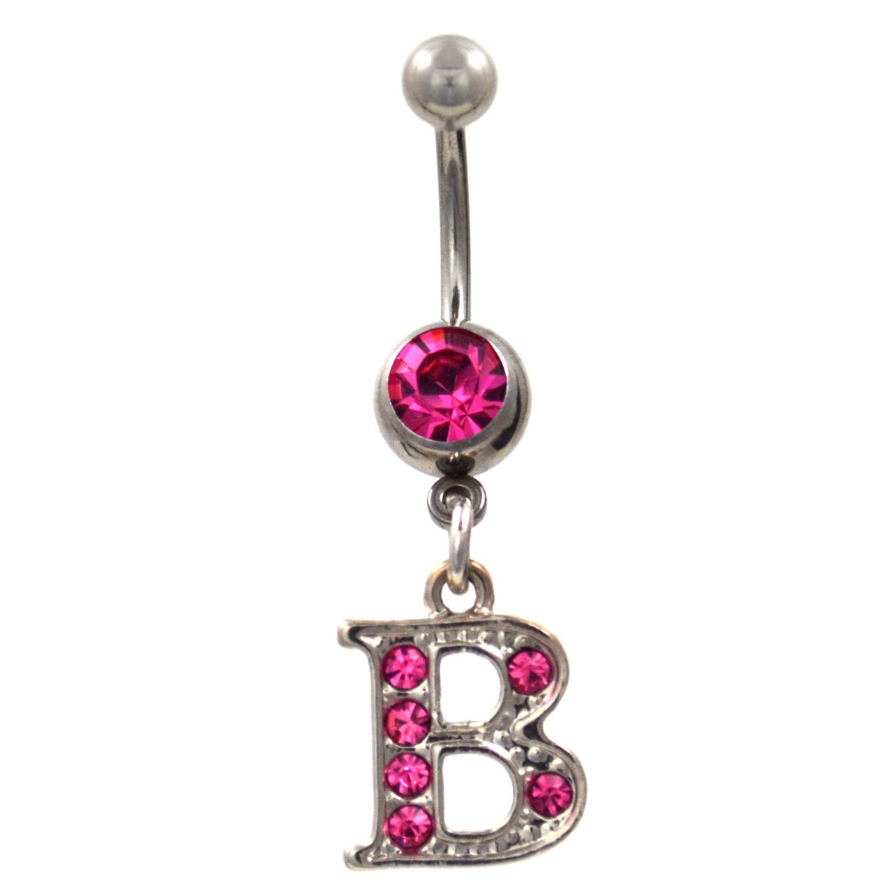 Initial Letter B Pink Gems Belly Button Ring