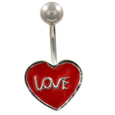 Love Scripted Red Heart Belly Ring