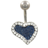 Gem Paved Denim Heart Belly Button Ring