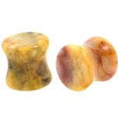 "Crazy Lace Agate Natural Stone Plugs (6g-1"")"