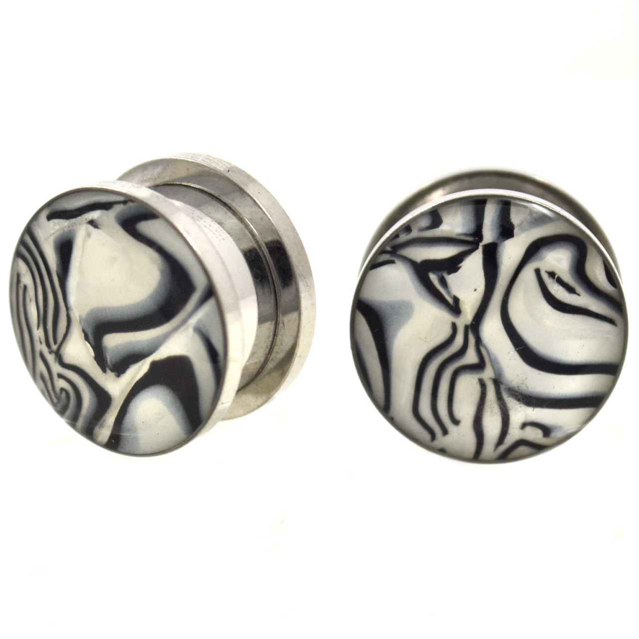 Black Amp White Zebra Striped Shell Steel Plugs 2g 13 16