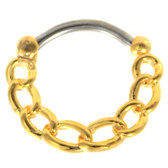 Chain Links Gold Plated Septum Clicker 16G