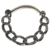 Chain Links Grey Steel Septum Clicker 16G