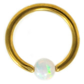 Gold Plated White Opal Captive CBR 16G 5/16""