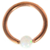 Rose Gold Plated White Opal Captive CBR 16G 5/16""