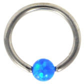 Blue Opal Ball Steel Captive Bead Ring CBR 16G