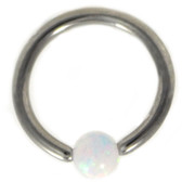White Opal Ball Steel Captive Bead Ring CBR 16G