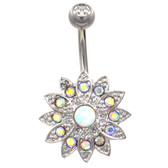 Bedazzled Lotus Flower AB Opal Belly Ring