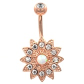 Bedazzled Lotus Flower Rose Gold Belly Ring