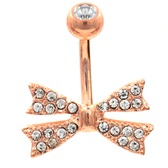Snazzy Bow Tie Rose Gold Belly Ring