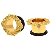 "Vintage Petal Edged Gold Single Flared Tunnels (2g-1"")"