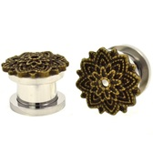 "Intricate Lotus Flower Top Screw-Fit Plugs (4g-5/8"")"