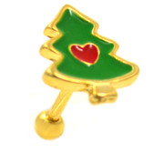 """Christmas Tree Love Gold Cartilage Earring 16g 1/4"""""""