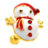 Festive Snowman Gold Cartilage Earring 16g 1/4""