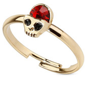 Red Gem Alien Skull Adjustable Toe Ring/Ring