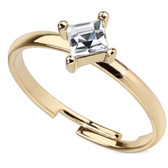 Tilted Square CZ Gem Adjustable Toe Ring/Ring