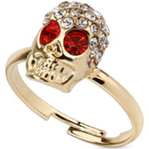 Red Eyed Wicked Skull Adjustable Toe Ring/Ring