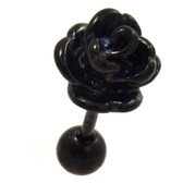 Pretty Black Rose Cartilage Tragus Stud Earring 18g 1/4""