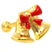 Gold Christmas Bells Steel Cartilage Earring 16g 1/4""